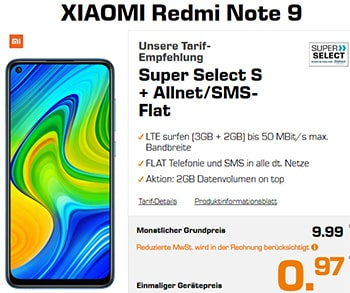 Saturn Super Select S 5GB LTE ab 9,99€ mit Galaxy A51 für 28,27€ | Xiaomi Redmi Note 9 für 0,97€