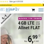 Simply 4GB LTE Allnet Flat für 6,99€   ohne Laufzeit