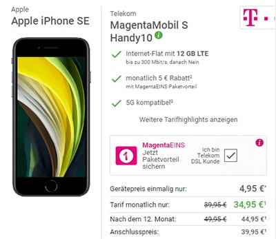 Telekom Magenta Mobil S (Young) ab 29,95€ mit iPhone 11 ab 59,95€, Google Pixel 5, Galaxy S20 (5G) ab 4,95€