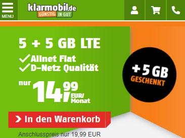 Klarmobil Allnet Flat Tarife | TOP-Tarif: 10 GB Telekom LTE Allnet Flat für 14,99€