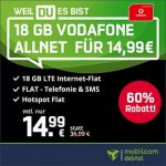 18GB Mobilcom Debitel Vodafone LTE Allnet Flat für 14,99€ / Monat