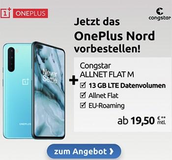 Congstar Allnet Flat M (8 GB) ab 20€ mit Apple iPhone SE für 39,95€, Xiaomi Mi Note 10 Lite für 4,99€, OnePlus Nord ab 4,95€ | Telekom LTE Netz