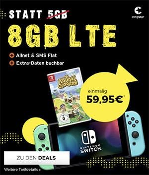 Congstar Allnet Flat M (8 GB) ab 20€ mit Huawei P30 für 4,99€, Xiaomi Mi 10 Lite für 4,99€, Nintendo Switch ab 59,95€   Telekom LTE Netz