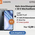 5GB Crash Vodafone LTE Allnet für 12,99€ mit Xiaomi Redmi Note 9 Pro für 39€