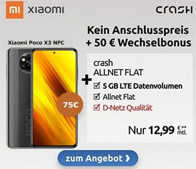 5GB Crash Vodafone LTE Allnet für 12,99€ mit Xiaomi Poco X3 NFC LTE für 75€