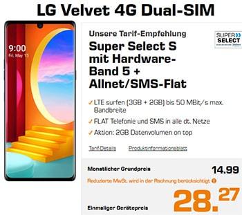 Saturn Super Select S 5GB LTE ab 14,99€ mit LG Velvet 4G für 28,27€ | Xiaomi Redmi Note 9 für 0,97€