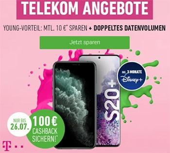 Telekom Magenta Mobil L (Young) ab 54,95€ mit Apple iPhone 11 (128GB) für 4,95€ | Galaxy S20 (Plus) ab 4,95€ | mit 100€ Cashback Aktion!