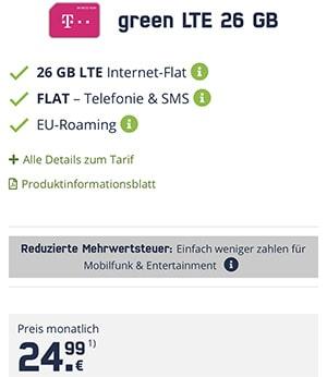 26 GB Mobilcom Debitel Telekom LTE Allnet Flat für 24,99€