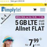 Simplytel 5 GB LTE Allnet Flat für 7,99€ | ohne Laufzeit
