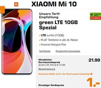 Xiaomi Mi Note 10 für 1€ mit MD Green Vodafone 10 GB Tarif für 21,99€