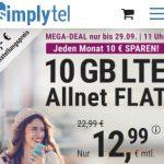 Simplytel 10 GB LTE Allnet Flat für 12,99€ | ohne Laufzeit