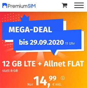 12 GB PremiumSIM LTE Allnet Flat für 14,99€ | ohne Laufzeit