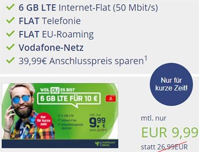 6GB Vodafone Allnet Flat für 9,99€