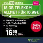 18GB Mobilcom Debitel Telekom LTE Allnet Flat für 16,99€