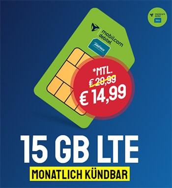 15 GB LTE o2 Allnet Flat für 14,99€ | ohne Laufzeit