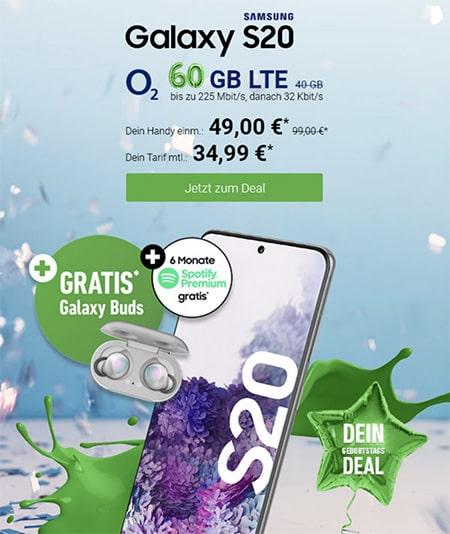 o2 Free L (60GB LTE) ab 34,99€ mit Galaxy S20, Huawei P30 Pro, Apple iPhone SE ab 4,95€ uvm.