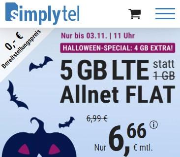 Simplytel 5 GB LTE Allnet Flat für 6,66€ | 12GB Flat für 14,99€ | ohne Laufzeit