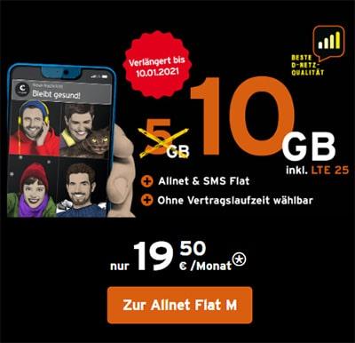10 GB Congstar Allnet Flat Plus für 20€ / Monat | ohne Laufzeit im Telekom LTE Netz