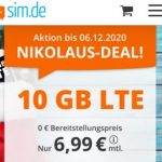 10 GB Tarif + 60 Freiminuten für 6,99€ - sim.de