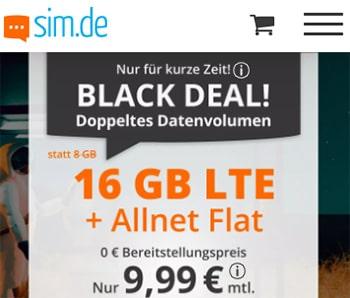 1 GB Allnet Flat für 2,99€ | 5 GB für 5,55€ | 16 GB für 9,99€ - sim.de | ohne Laufzeit
