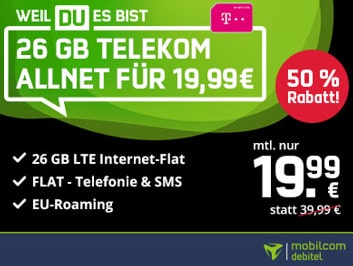 26GB Mobilcom Debitel Telekom LTE Allnet Flat für 16,99€