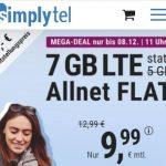 Simplytel 7 GB LTE Allnet Flat für 9,99€ | 2 GB Flat für 4,99€ | ohne Laufzeit