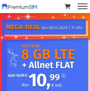8 GB PremiumSIM LTE Allnet Flat für 10,99€ | 4 GB Flat für 6,99€ | ohne Laufzeit