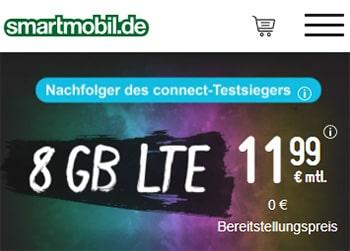smartmobil LTE Tarife bis zu 8 GB LTE ab 11,99€ | täglich kündbar