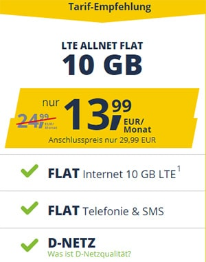 Freenet Mobile Vodafone LTE Allnet Flat Tarife | TOP-Deal: 10 GB für 13,99€ / 15 GB für 16,99€ | monatlich kündbar