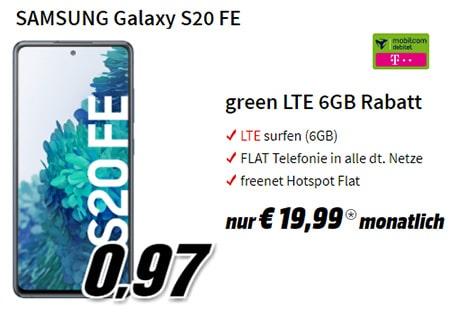 MediaMarkt Cyber Monday Dealz 2020 | TOP-Deal: Galaxy S20 FE für 0,97€ + 6GB Telekom / Vodafone Flat für 19,99€
