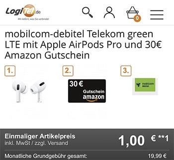 Apple AirPods Pro für 1€ + 30€ Amazon Gutschein mit 18 GB Mobilcom Telekom LTE Allnet Flat für 19,99€