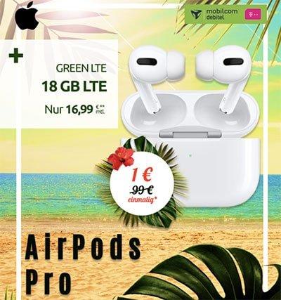 Apple AirPods Pro für 1€ mit 18 GB Mobilcom Telekom LTE Allnet Flat für 16,99€