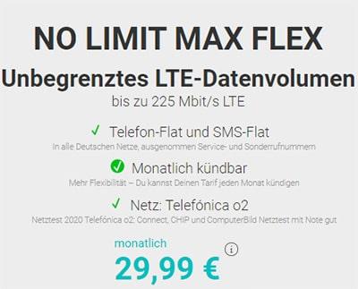 Handy.de NO LIMIT MAX FLEX (unbegrenztes Datenvolumen) für 29,99€ | monatlich kündbar