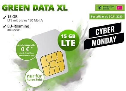 Mobilcom-Debitel Telekom Green Data XL 15GB LTE für 9,99€ pro Monat | Cyber Monday