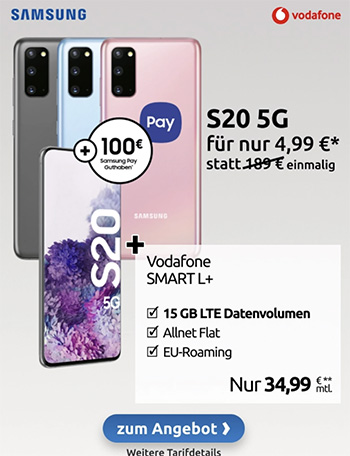 Vodafone Smart L Plus (bis zu 20GB) ab 34,99€ mit iPhone SE 2020 (256GB) für 4,95€ | iPhone 11 ab 4,95€ | Galaxy S20 5G ab 4,99€ | Google Pixel 5 für 4,95€
