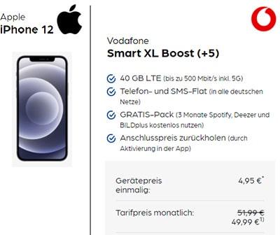 40 GB LTE Vodafone Smart XL ab 44,99€ mit iPhone 12 (Mini, Pro), Google Pixel 5, Galaxy S20 ab 4,95€