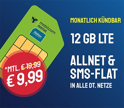 12 GB Mobilcom o2 Allnet Flat für 9,99€ pro Monat | ohne Laufzeit