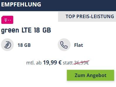 18 GB Mobilcom Debitel Telekom LTE Allnet Flat für 19,99€