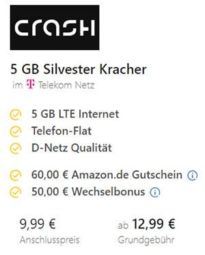 5GB Telekom Crash Klarmobil Allnet Flat für 12,99€ + 60€ Amazon Gutschein + 50€ bei Rufnummernmitnahme