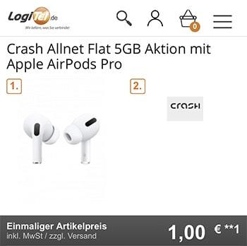 5GB Crash Vodafone LTE Allnet für 12,99€ mit Apple AirPods Pro für 1€