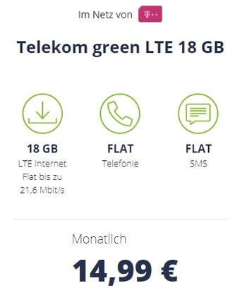 18 GB Mobilcom Debitel Telekom LTE Allnet Flat für 14,99€