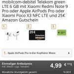 6 GB MD Green Telekom LTE Tarif ab 14,99€ mit Apple AirPods Pro oder Xiaomi Poco X3 NFC + 25€ Amazon Gutschein für 4,99€