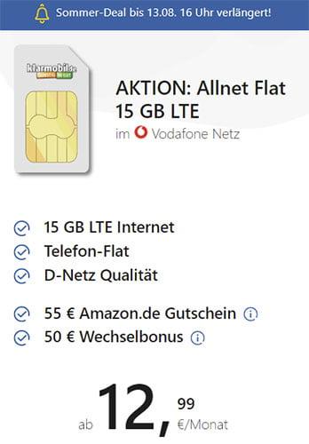 15 GB Klarmobil Vodafone LTE Allnet Flat für 12,99€ / Monat + 55€ Amazon Gutschein + 50€ für Rufnummernmitnahme