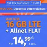 16 GB PremiumSIM LTE Allnet Flat für 14,99€ | 7GB Allnet Flat für 8,99€