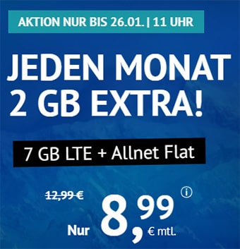 7 GB LTE Allnet Flat für 8,99€   2 GB LTE Allnet Flat für 4,99€ - Handyvertrag.de   ohne Laufzeit