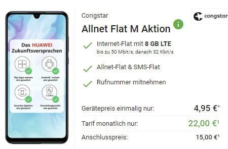 Congstar Allnet Flat M (8 GB) für 22€ mit Huawei P30 Lite für 4,95€, Google Pixel 4a für 4,99€, Xiaomi Mi 10T Lite 5G für 49€ | Telekom LTE Netz