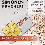 20 GB Crash Vodafone LTE Allnet Flat für 19,99€