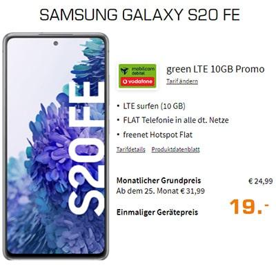 10GB MD Green Vodafone LTE Tarif ab 14,99€ mit Handy ab 4,95€ | Google Pixel 4a für 1€ | Galaxy S20 FE für 19€