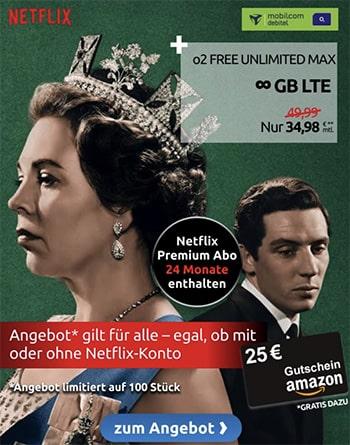 Mobilcom o2 Free Unlimited Max (unbegrenztes Datenvolumen) ab 34,99€ + 2 Jahre Netflix + 25€ Amazon Gutschein