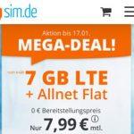 7 GB Tarif LTE Allnet Flat für 7,99€ - sim.de